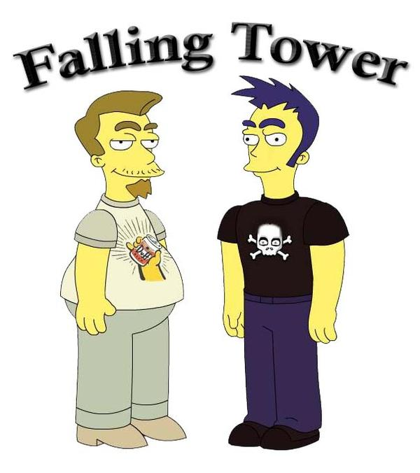 Michael and Ryan from Fallling Tower rendered as Simpsons characters.